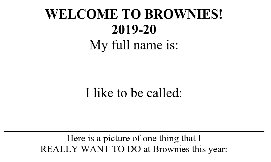 WelcometoBrowniesworksheet